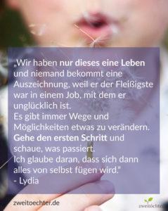 """Interviewserie """"Träum Mama träum"""" über Lebensträume von Müttern - Lydia von lydialovescoconut Zitat"""