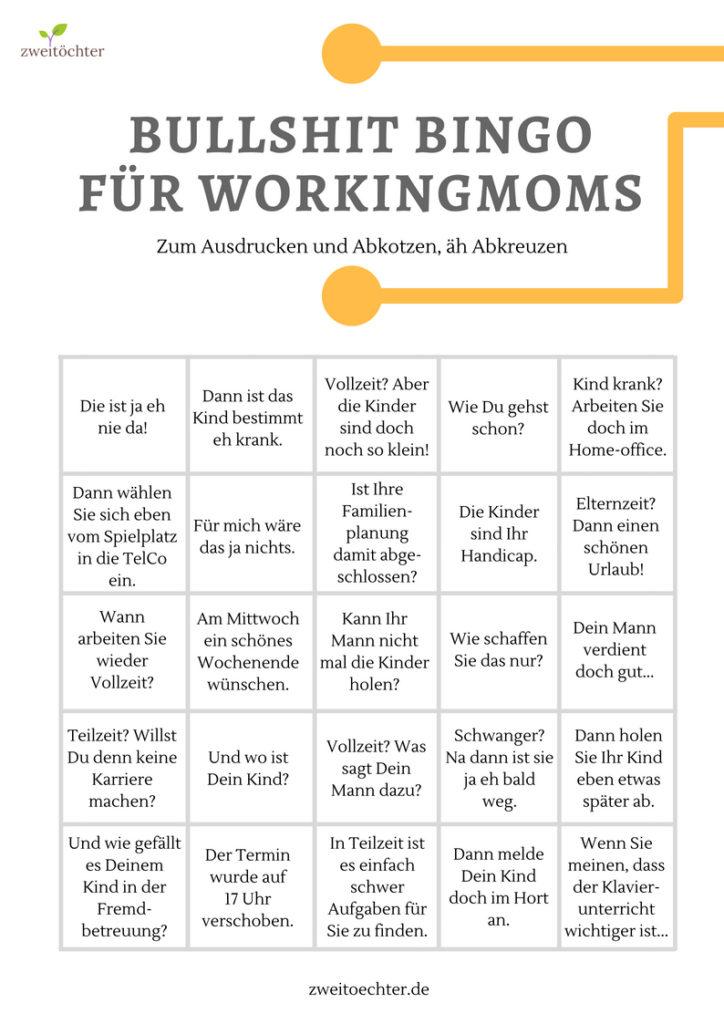 Bullshit-Bingo für workingmoms zum Abkreuzen - zweitöcher