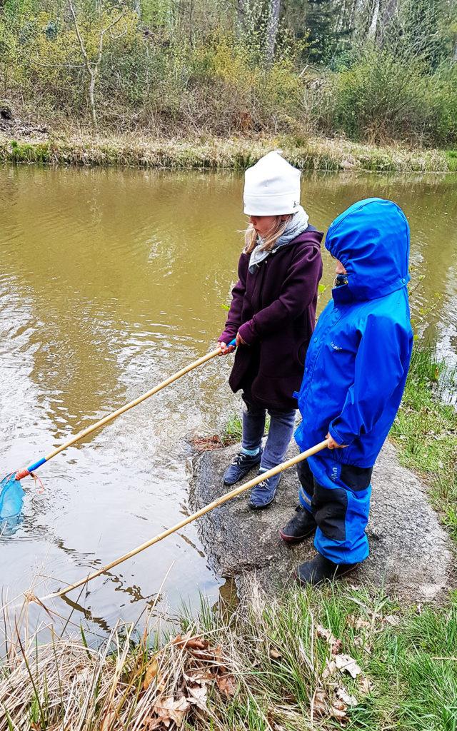Besuch einer Freilernergemeinschaft auf Bornholm. Kinder am Teich